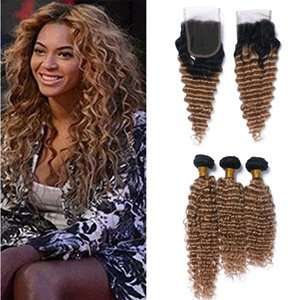 Dark Roots Honey Blonde Ombre Bundles de cheveux brésiliens avec fermeture à lacets Deux tons 1B / 27 Brun Blonde Ombre cheveux bouclés et fermeture