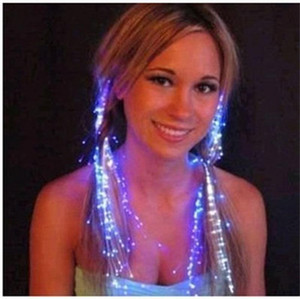 En plastique LED Light Up Extension de cheveux Flash Braid Party Girl Hairs Sécurité incandescent dans le noir Fibre Optique Party Supplies 0 79dm BB
