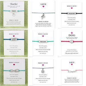 Desejo Pulseira Com Cartão De Presente Do Cão Da Pata Do Amor Unicórnio Professor Charme Pulseiras Pulseiras para As Mulheres homens Declaração Amizade Jóias Cartões