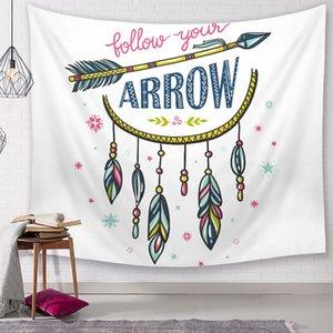 150 * 200 cm suivez votre citation de rêve tapisserie plume tenture murale art décoration boho bohème capteur de rêves tenture murale polyester tapis
