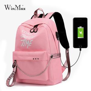 Winmax Luminoso USB Carica Donne Zaino Moda Lettere Stampa Sacchetto di Scuola Ragazze Adolescente Catena Zaino Bolsa Mochila Sac A Dos Y18110202