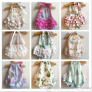 Mezclar 5 colores Ins Baby Girls estampado de flores mamelucos estampados para niños infantiles Backless Cake tirantes onesies mameluco para niños pequeños trajes de playa