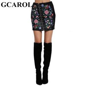 Евро стиль вышитые цветочные искусственной кожи женщин юбка заклепки асимметричная молния мини сексуальная юбка PU для 4 сезона