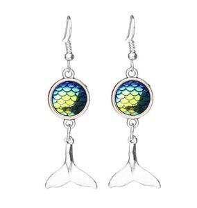 Moda drusy Druzy Küpe Denizkızı Kuyruk Dangle Küpe Balık Ölçek İçin Kadınlar Lady Mücevher Scales