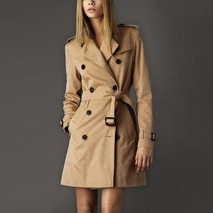 2017 NEW winter Fashion Designer  Classic European Trench Coat khaki/Black Double Breasted Women Pea Coat high quality