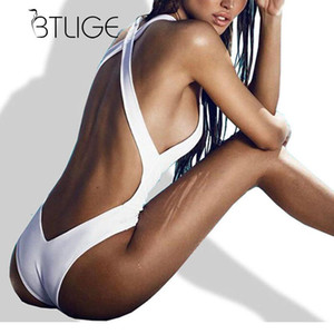 Großhandel-BTLIGE 2017 Sexy Tanga 1 Badeanzug Backless Schwimmen Badeanzug für Frauen High Cut Bademode Trikini Monokini Bikini