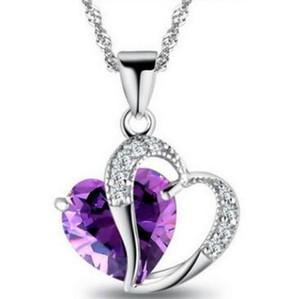 Top Herz Kristall Halskette Amethyst Anhänger Halskette Fashion Class Frauen Mädchen Lady Elemente Schmuck Herz Halskette 925 Silber Halsketten