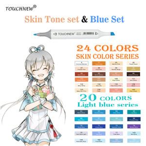 TOUCHNEW 20 / 24Colors Skin Tone Marker Blu Set Sketch Markers Pen Per Disegno Ritratto Animazione Colore blu mare Rifornimenti di arte