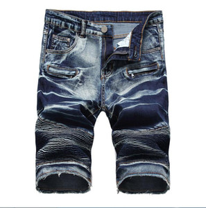 Sıcak satmak erkek Rahat Pamuk erkek jean şort kırışıklıkları tasarımcı retro erkek delik Diz Boyu denim Şort kot büyük boy pantolon boyutu 28-42