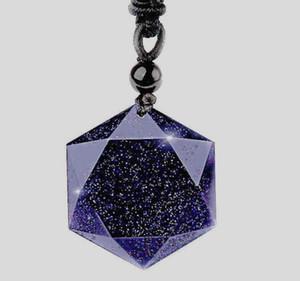 Синий песчаник ожерелье кулон шесть ость звезда ожерелье кулон ювелирные изделия камень