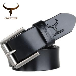 Cowather Kuh Echtleder Herren Gürtel für Männer 2017 hochwertige Luxus drei Farben 100-130 cm Gürtel für Männer Freies Verschiffen