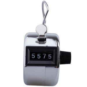 Нержавеющего металла Мини-гольф Спорт Lap Ручной Ручной 4 значное число рук Tally счетчик Clicker Silver Free DHL