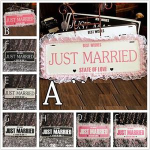"Eco-Friendly ""Just Married"" Lace Garland Wedding Banner Hangtag Car Sign Fotografia Props casamento Motorcade carro decoração"