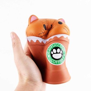 Gatto Squishy Toys Coffee Cup Squishies Cute Animal Slow Rising Vent Bambini Toy Gifts New 2019