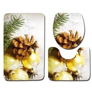 Banyo Kaymaz Paspaslar Tuvalet Çıtası Halıları İçin Yeni Tasarım 3adet Tuvalet Bath Mats Seti Noel Dekor Desen Bath Mats