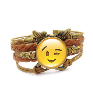2018 Funny Emoji New fashion jewelry Multilayer time gem bracelet children teenager Leather cord bracelet