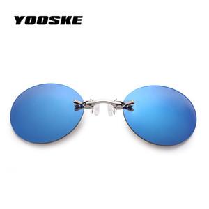 YOOSKE Pequeño clip redondo en nariz Gafas de sol Hombres Vintage Mini Redondo Gafas de sol Hacker Empire Matrix Rimless Sunglass