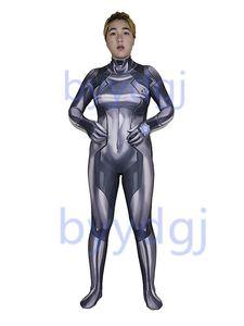 Samus Zero Costume Gray Color 3D Printed Girl Lycra Zentai Bodysuit Halloween Party suit free delivery
