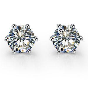 Piuttosto 1CT / Pezzo Orecchini in argento sterling 925 con perno rotondo SONA Marca diamanti sintetici Orecchini da sposa in oro bianco