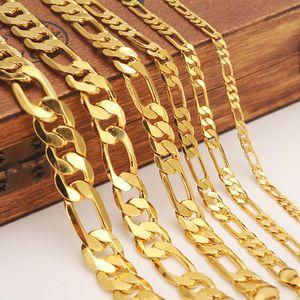 Mens Frauen Solid Gold GF 3 4 5 6 7 9 10 12mm Breite Select italienische Figaro Link Kette Halskette Armband Modeschmuck Großhandel