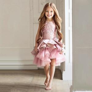 2020 País Estilo Vintage Flowergirl Vestidos Joya Cuello sin mangas de volantes de encaje de tul asimétrico Flower Girl Vestidos para la boda