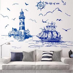 Free shipping Sailing Boat Lighthouse Birds Wall Sticker Vinyl DIY Mural Art for Living Room Decoration adesivo de parede
