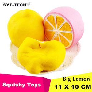 11x 10 cm Jumbo Squishy limón Kawaii Squishy Fruta linda Decoración de levantamiento lento Correa de teléfono Colgante Squishes Regalo juguetes muñeca Juguete de descompresión