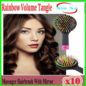 Rainbow Volume Tangle Detangling Hair Brush Detangle Hair Effortlessly Wet Or Dry Hair Comb With Mirror For Kids & Adults 10pcs XU-TT-04