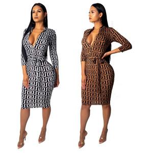 Sexy reißverschluss v-ausschnitt 3/4 hülse frauen herbst bodycon dress mode gedruckt knielangen taille gürtel club party dress
