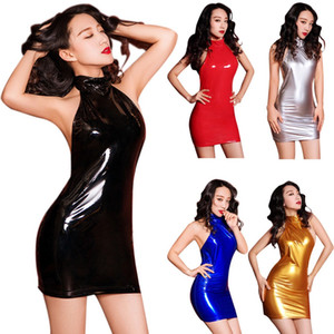 Sexy donne Metallic Wet Look Bodycon Halter Neck Backless Mini Dress PVC Vinile lucido Night Party Fetish Clubwear