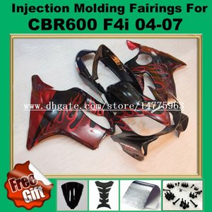 Rojo llama negro Carenado de inyección para F4i HONDA CBR600F4i 04 05 06 07 CBR 600 F4i CBR600RR F4i 2004 2005 2006 2007 ABS Fairing kits regalos