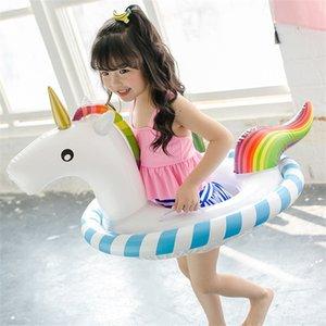 Lovely Cartoon Unicorn Pool Tappetino Sedile per bambini Summer Beach Kid Anello di nuoto Galleggianti gonfiabili di sicurezza 27ws X