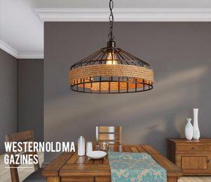 Loft pingente de corda do vintage Lâmpada de Ferro Retro iluminação luminárias Industrial estilo edison pingente luzes do vintage lamparas de techo Restaurante bar