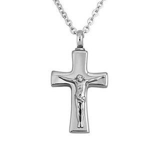 Argent Jésus Croix crémation souvenir urne Pendentif Collier Pour cendres funéraires Cercueil Bijoux En Acier Inoxydable Pendentif