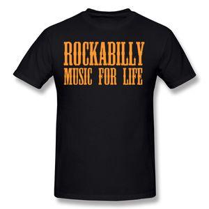 Лучшая распродажа Мужская 100 хлопок Rockabilly Music For Life Футболка Мужская с круглым воротом Оранжевые футболки с коротким рукавом S-6XL На футболке