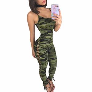 CM. YAYA camuflagem Impressão Lado Lace UP Macacões Macacões 2018 mulheres Verão moda Casual bodycon bandagem Sexy Macacão J7419K