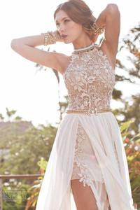 Julie Vino Beach Prom Dresses Halter Lace Pearls chiffon di alta Split Backless greca Boho pizzo degli abiti di sfera del treno Cocktail Party Dresses DH0528