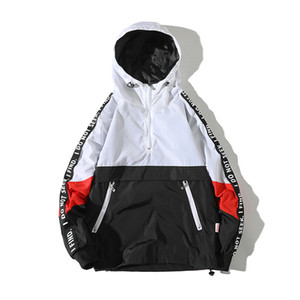 Legible 2018 Patchwork Negro Pullover Chaqueta Moda Chaqueta Casual Hombres Chaqueta rompevientos Hip Hop Streetwear Chaquetas con capucha Hombres S1015
