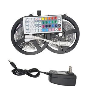 Umlight1688 5 M 10 M 5050 SMD RGB LED Bande de Lumière Chaîne Ruban de Noël Décor lampe Tape + 24 44 Keys Télécommande + Kit Adaptateur de Puissance