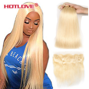 613 Blonde Bundles With Frontal Ear To Ear Straight Human Hair Bundles Blonde Virgin Hair Weave 3 Bundles with Frontal 613# Light Blonde