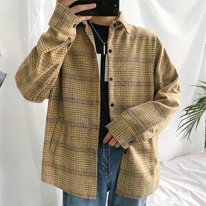 Plaid Shirt Men Fashion Retro Casual Loose Long Sleeve Shirt Man Autumn New Streetwear Hip Hop Male Clothes M-2XL