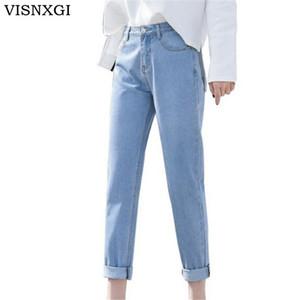 VISNXGI 2018 Neue Dünne Bleistift Hosen Vintage Hohe Taille Jeans Frauen Hosen Voller Länge Hosen Lose Cowboy Plus Größe Jeans Hose