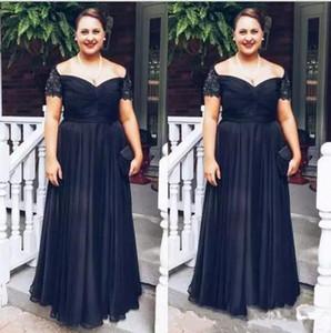 Формальный плюс размер Черная Мать невесты Платья линии плеча кружева бисером жених платье матери на заказ вечерние платья