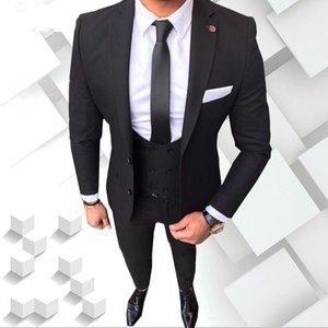 Due bottoni dello smoking nero dello sposo di alta qualità tacca Groomsmen del risvolto migliore abiti dell'uomo Abiti da sposa uomo (giacca + pantaloni + vest + cravatta) NO: 990