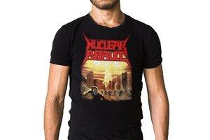 Impressão de tela camisetas manga curta impressão Nuclear assalto tripulação pescoço camisa para homens