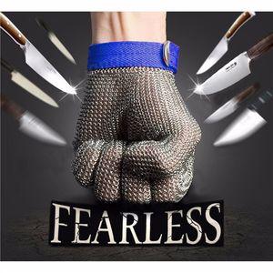 Metal Mesh Butcher Glove Grade 5 Safety Cut Proof Stab Resistant Acciaio inossidabile con guanto di cotone libero A253