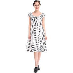 Tienda Online Venta caliente vestido de lunares lindo vestido Vintage vestido de manga corta princesa de una pieza vestido péndulo grande