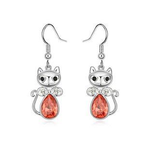 Orecchini a forma di gatto carino vintage per orecchini a forma di goccia a forma di cristallo a forma di lacrima realizzati con gioielli di donne con elementi in cristallo Spedizione gratuita