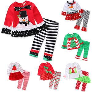 Crianças de natal Impresso Pijamas Outfits Para Papai Noel Rena Xmas Tree Girl Manga Longa Plissado Pijamas Set Vestir Roupas WX9-1008