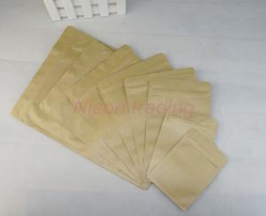 100 шт. / лот 9x13 см коричневый крафт-бумага алюминиевая фольга Ziplock мешок, внутренний майлар поверхности бумаги Srotage кофейных зерен молнии мешок клип печать